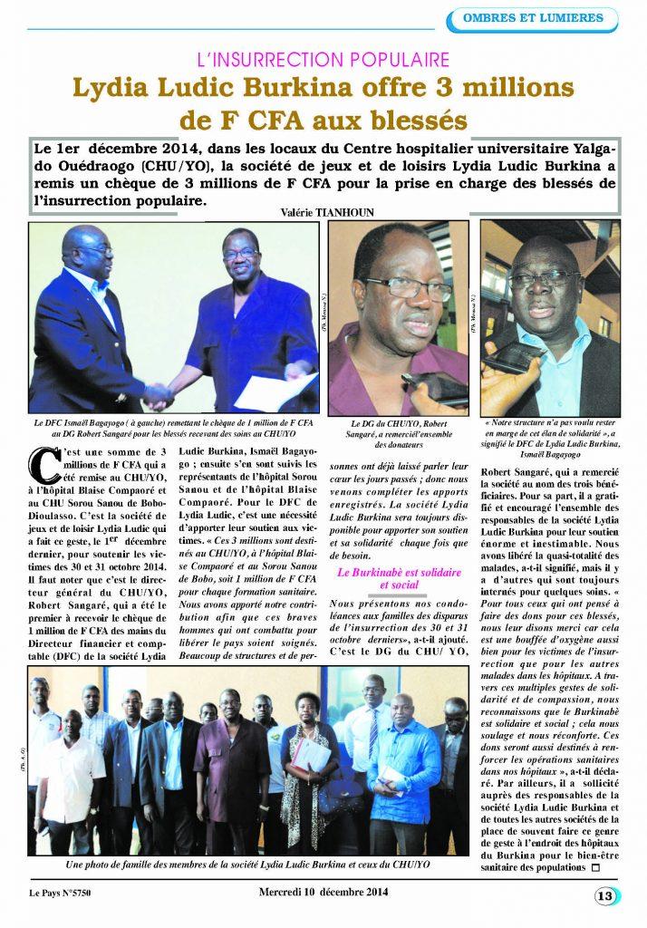 Le Pays Nº5750 du Mercredi 10 décembre 2014 - L'INSURRECTION POPULAIRE - Lydia Ludic Burkina Faso offre 3 millions de FCFA aux blessés