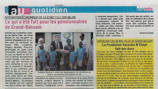 Lydia Ludic dans le quotidien Soir Info : Intégration économique pour la jeune fille orpheline - Ce qui a été fait pour les pensionnaires de Grand-Bassam