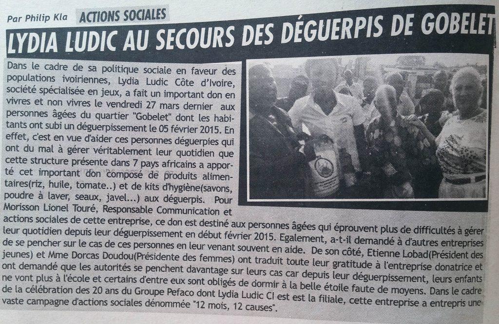 Lydia Ludic Côte d'Ivoire vient en aide aux habitants du bidonville Gobelet à Abidjan - Mars 2015