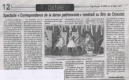 """Togo-Presse Nº9502 du 24 mars 2015 - Spectacle """"Correspondance de la danse patrimoniale"""" vendredi au Brim de chocolat"""
