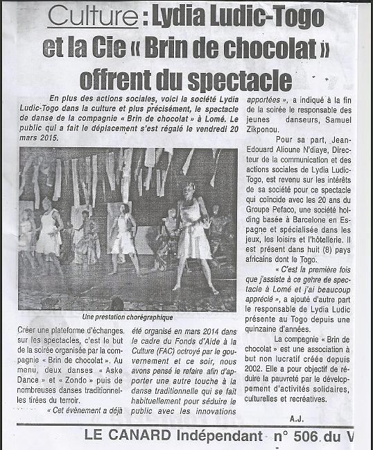 """Le Canard Indépendant Nº506 du vendredi 20 mars 2015 - CULTURE - Lydia Ludic Togo et la Cie """"Brin de Chocolat"""" offrent du spectacle"""