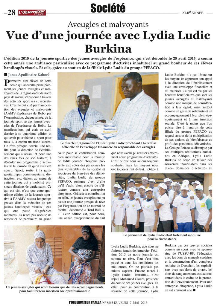 L'Observateur Paalga Nº8865 - Jeudi 7 mai 2015 - AVEUGLES ET MALVOYANTS - Vue d'une journée avec Lydia Ludic Burkina