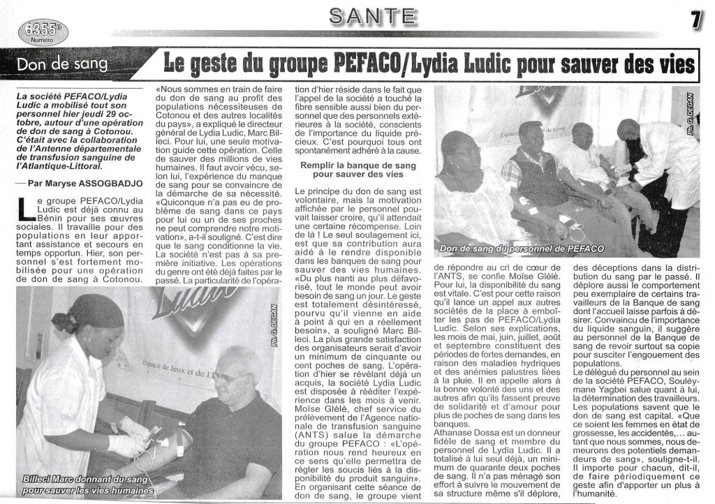 La Nation Bénin Nº6355 du 30 octobre 2015 - Le geste du Groupe PEFACO/Lydia Ludic pour sauver des vies
