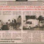 Lydia Ludic Togo et la LONATO font don de deux ambulances au Ministère de la Santé - Avril 2009