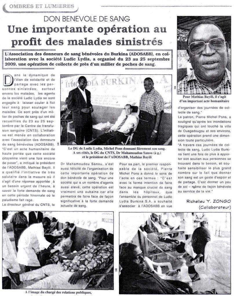 Lydia Ludic dans le journal Le Pays Nº4462 du jeudi 1er octobre 2009 : Don bénévole de sang - Une importante opération au profit des malades sinistrés