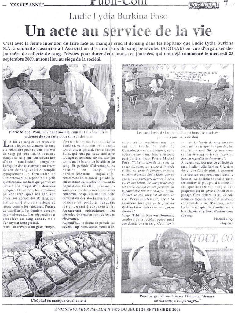 Lydia Ludic dans le journal l'Observateur Paalga Nº7473 du jeudi 24 septembre 2009 : Lydia Ludic Burkina Faso - Un acte au service de la vie