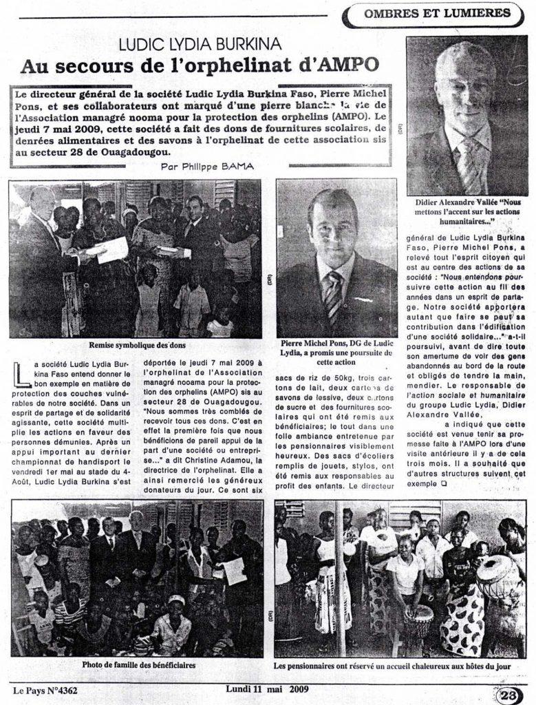Lydia Ludic dans le journal Le Pays Nº4362 du lundi 11 mai 2009 : Lydia Ludic Burkina Faso - Au secours de l'orphelinat d'AMPO