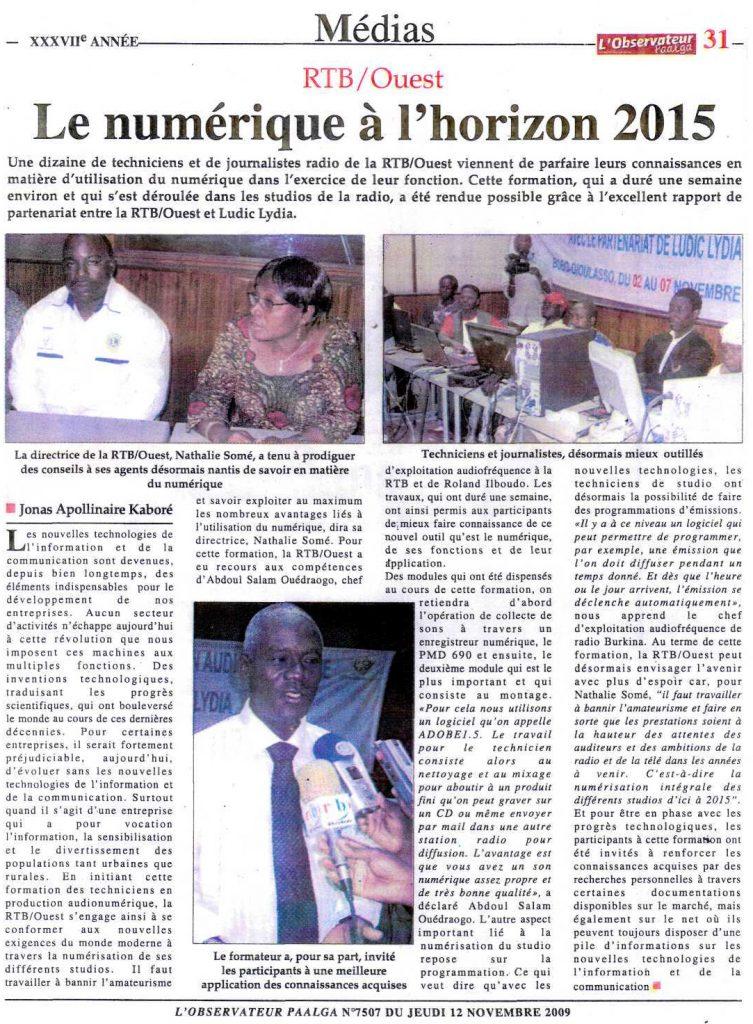 Lydia Ludic dans le journal l'Observateur Paalga Nº7507 du jeudi 12 novembre 2009 : RTB/Ouest - Le numérique à l'horizon 2015