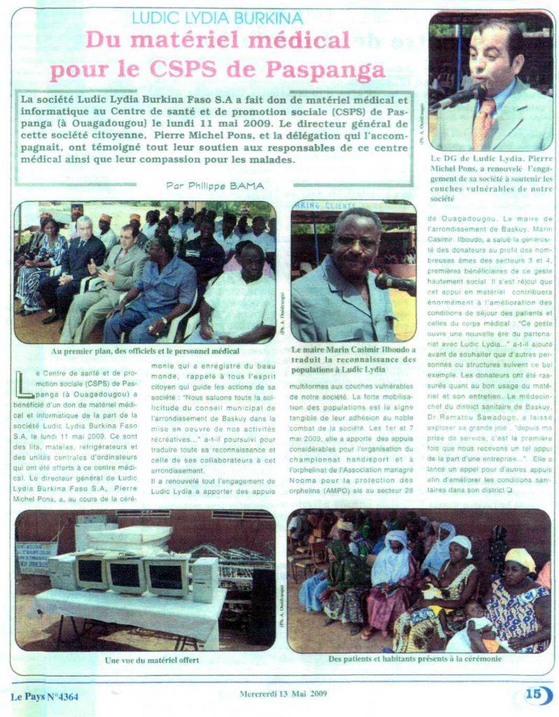 Lydia Ludic dans le journal Le Pays Nº4364 du mercredi 13 mai 2009 : Lydia Ludic Burkina Faso - Du matériel médical pour CSPS de Paspanga