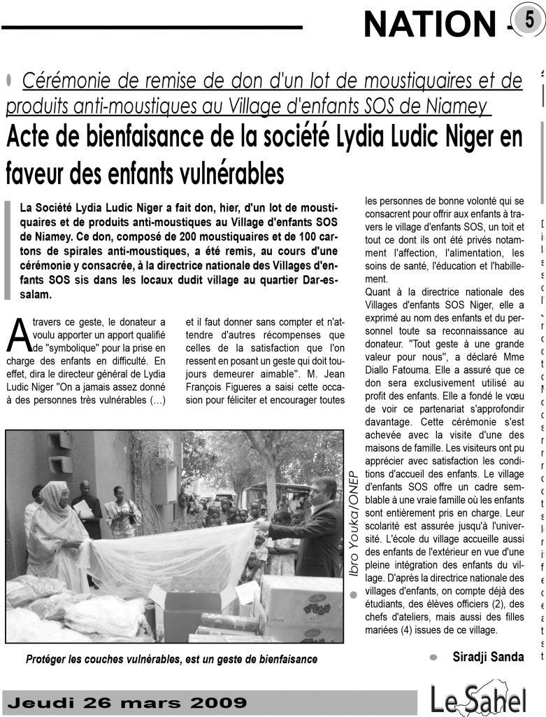 Lydia Ludic dans le journal Le Sahel du jeudi 26 mars 2009 : Acte de bienfaisance de la société Lydia Ludic Niger en faveur des enfants vulnérables