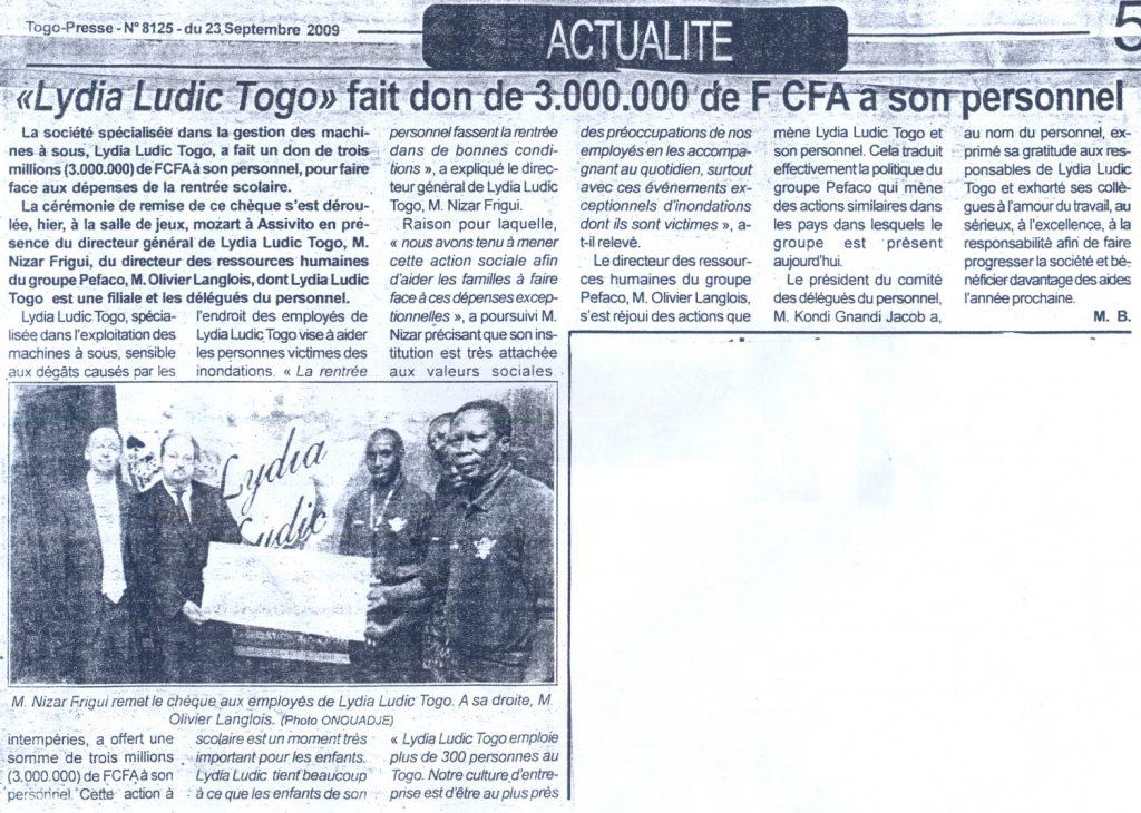 Lydia Ludic dans le journal Togo-Presse Nº8125 du 23 septembre 2009 : Lydia Ludic Togo fait don de 3.000.000 de FCFA à son personnel