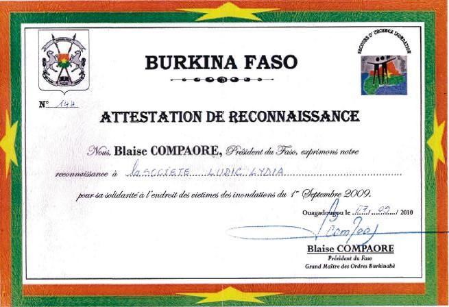 Lydia Ludic Burkina Faso remercié pour sa solidarité envers les victimes des inondations du 1er septembre 2009 - Septembre 2010