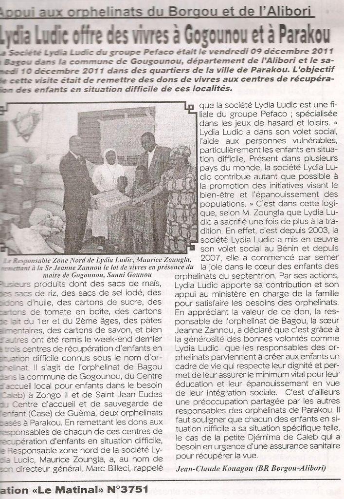 Lydia Ludic dans le journal La Matinal Nº3751 : Appui aux orphelinats du Borgou et de l'Alibori - Lydia Ludic offre des vivres à Gogoumou et à Parakou