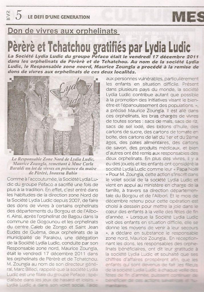 Lydia Ludic dans le journal : Don de vivres aux orphelinats - Pèrèrè et Tchatchougratifiés par Lydia Ludic.