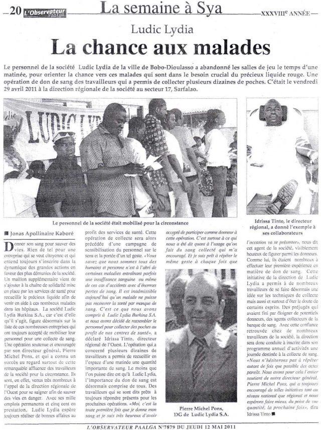 Lydia Ludic dans le journal L'Observateur Paalga du jeudi 12 mai 2011 : La semaine à Sya - Lydia Ludic, La chance aux malades