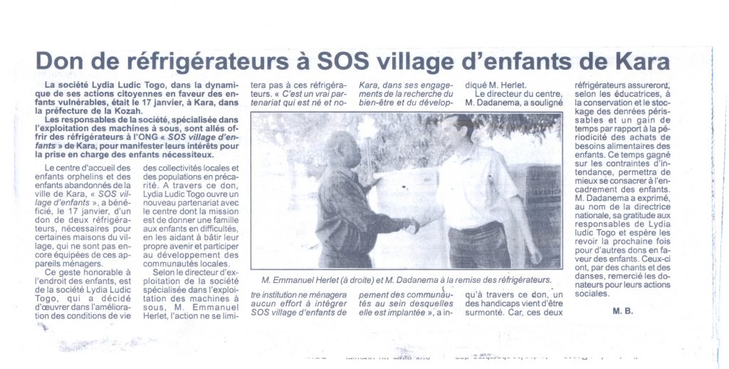 Lydia Ludic dans le journal Togo-Press : Don de réfrigérateurs à SOS village d'enfants de Kara