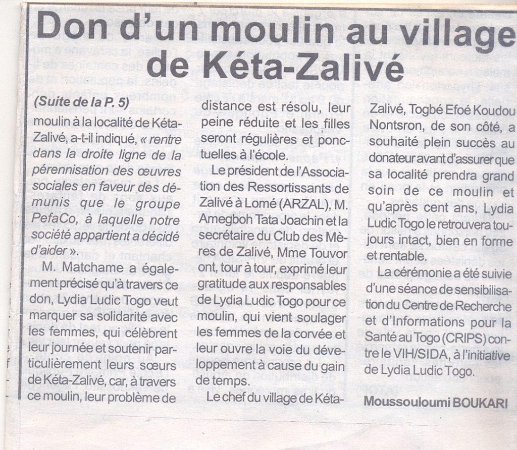 Lydia Ludic dans le journal Togo-Pressue du 12 mars 2012 : Lydia Ludic Togo fait don d'un moulin au village de Kéta-Zalivé (p.2/2)