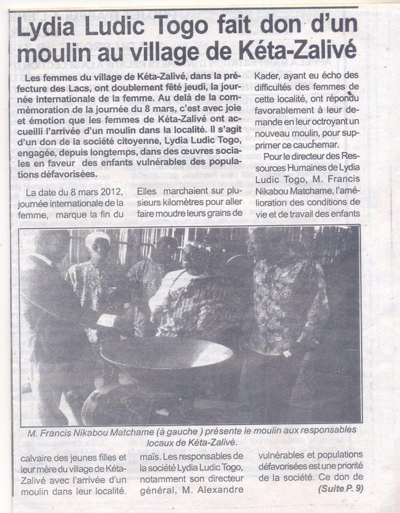 Lydia Ludic dans le journal Togo-Pressue du 12 mars 2012 : Lydia Ludic Togo fait don d'un moulin au village de Kéta-Zalivé (p.1/2)