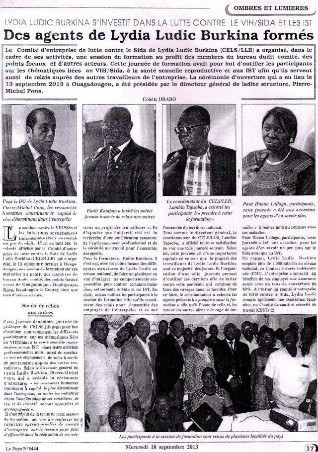 Lydia Ludic dans le journal Le Pays Nº5444 du mercredi 18 septembre 2013 : Lydia Ludic Burkina Faso s'investit dans la lutte contre le VIH/SIDA et les IST - Des agents de Lydia Ludic Burkina Faso formés