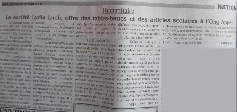 Lydia Ludic dans le journal L'Alternative : La société Lydia Ludic offre des tables-bancs et des articles scolaires à l'ONG Appel