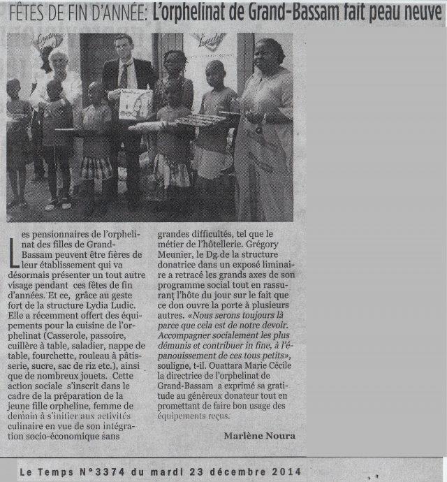 Lydia Ludic dans le journal Le Temps Nº3374 du mardi 23 décembre 2014 : Fêtes de fin d'année - L'orphelinat de Grand-Bassam fait peau neuve