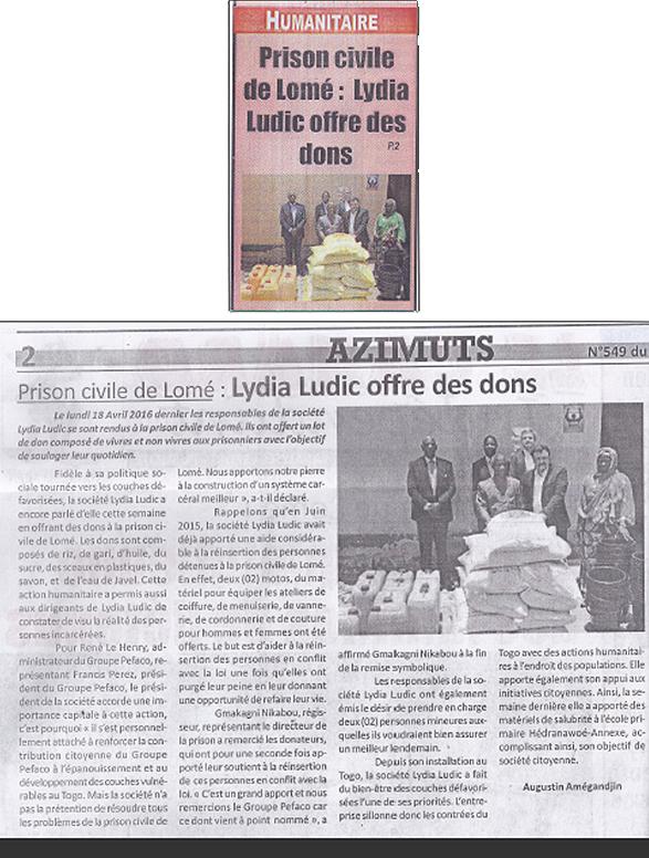 Lydia Ludic Togo dans le journal d'actualité togolais le Canard Indépendant n°549 du 22 avril 2016 : Prison Civile de Lomé : Lydia Ludic offre des dons