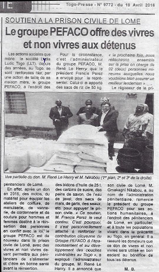 Lydia Ludic Togo dans le journal d'actualité Togo-Presse Nº 9772 du 19 avril 2016 : Soutien à la Prison Civile de Lomé - Le Groupe PEFACO offre des vivres et non-vivres aux détenus