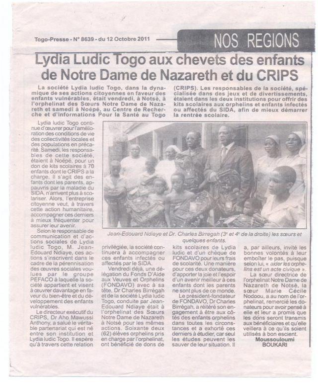 Lydia Ludic dans le journal d'actualités Togo-Presse Nº8639 du 12 octobre 2011 : Lydia Ludic Togo au chevet des enfants de Notre Dame de Nazareth et du CRIPS