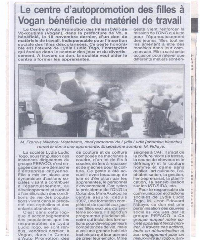 Lydia Ludic dans la presse togolaise pour ses actions sociales : Le centre d'autopromotion des filles à Vogan bénéficie du matériel de travail