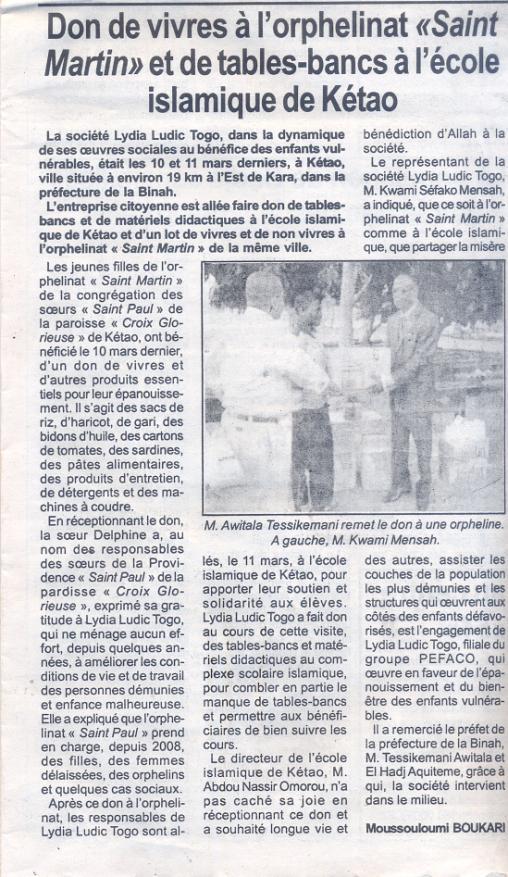 Lydia Ludic dans la presse togolaise pour ses actions sociales : Don de vivres à l'orphelinat Saint-Martin et de tables-bancs à l'école islamique de Kétao