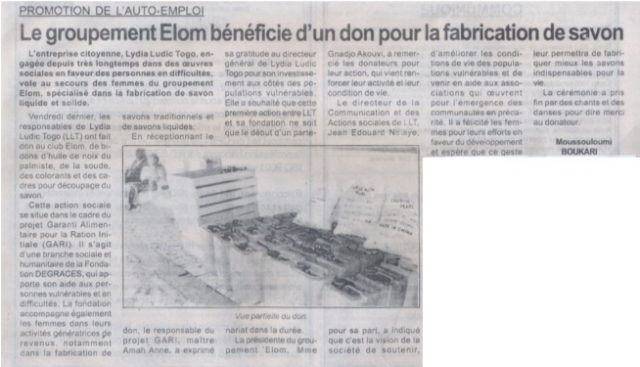 Lydia Ludic dans la presse togolaise pour ses actions sociales : Le groupement ELOM bénéficie d'un don pour la fabrication de savon