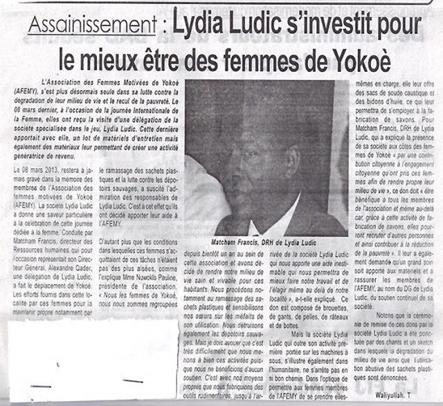 Lydia Ludic dans le journal d'actualités togolais Le Canard pour ses actions sociales : Assainissement - Lydia Ludic s'investit pour le mieux être des femmes de Yokoè
