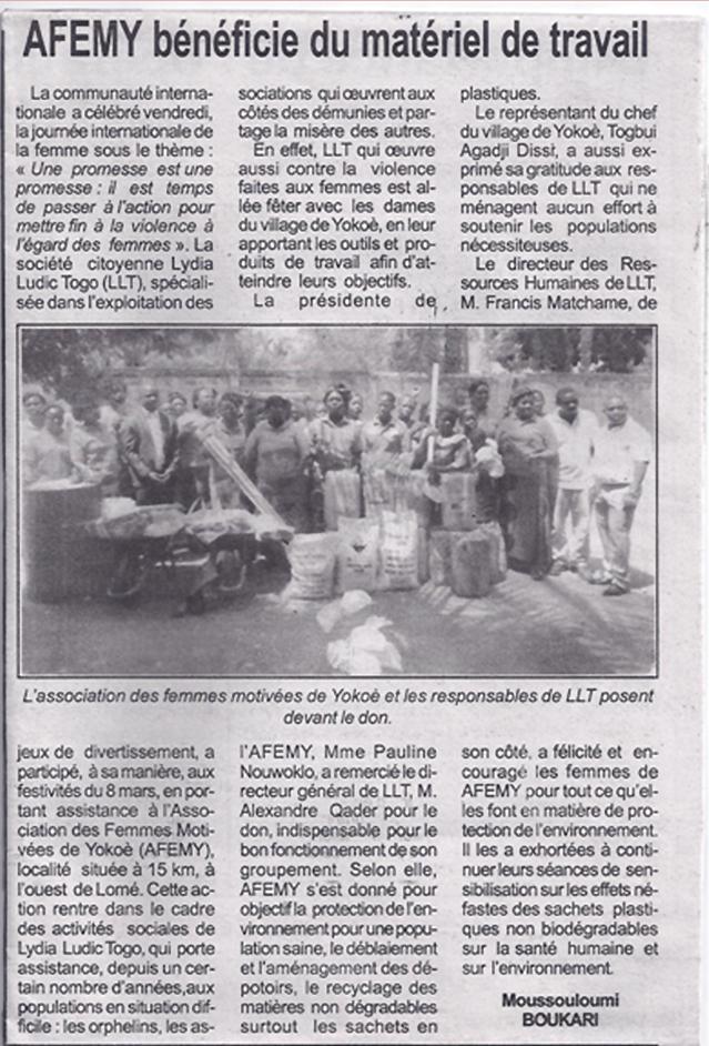 Lydia Ludic dans le journal d'actualités Togo-Presse pour ses actions sociales : AFEMY bénéficie du matériel de travail