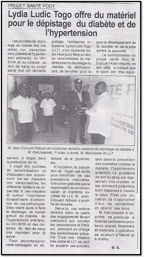 Lydia Ludic Togo dans le journal d'actualités Togo Presse pour son action sociale : Projet Santé-Foot - Lydia Ludic Togo offre du matériel pour le dépistage du diabète et de l'hypertension