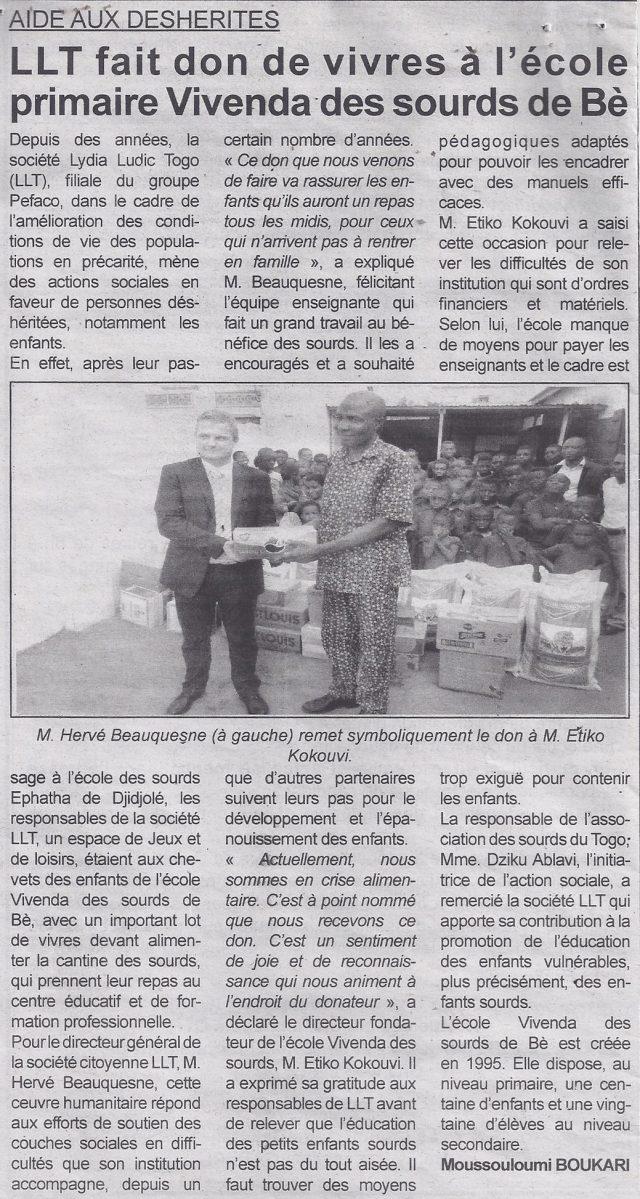 Lydia Ludic Togo dans le journal d'actualité Togo Presse Nº9732 du 22 février 2016 : Aide aux déshérités - LLT fait don de vivres à l'école primaire Vivenda des sourds de Bè