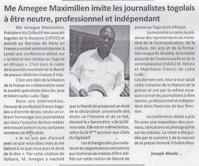 Lydia Ludic Togo dans le journal d'actualité togolais Le Canard Indépendant pour sa participation à la Journée Mondiale de la Liberté de la Presse