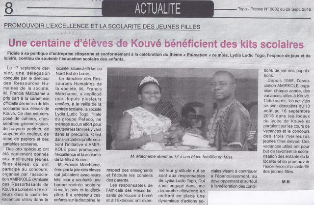 Lydia Ludic Togo dans le journal d'actualités Togo Presse Nº9882 du 29 septembre 2016 : Promouvoir l'excellence et la scolarité des jeunes filles - Une centaine d'élèves de Kouvé bénéficient de kits scolaires